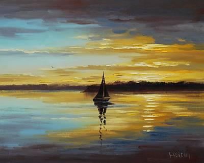 Sailboat Ocean Painting - Golden Sunset by Graham Gercken
