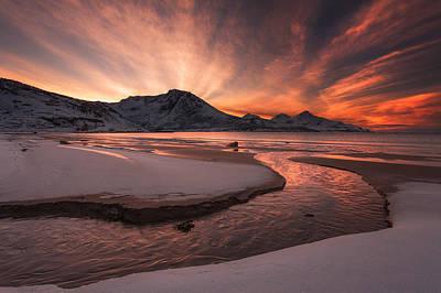 Winter Skies Photograph - Golden Sunset by Jaroslav Zakravsky