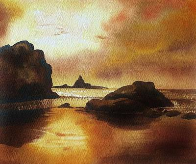 Alluring Painting - Golden Sunset  by S Aili