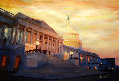 Golden United States Capitol In Washington D.c. Print by M Bleichner