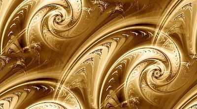 Digital Digital Art - Golden Waves by Anastasiya Malakhova