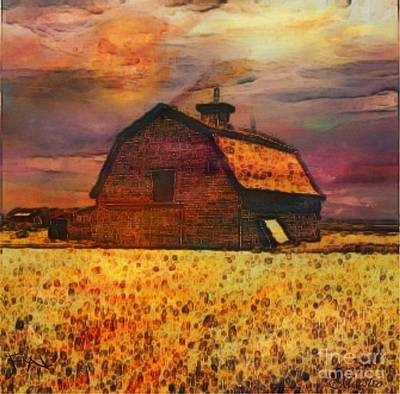 Harvest Deco Painting - Golden Wheat Sunset Barn by PainterArtist FIN