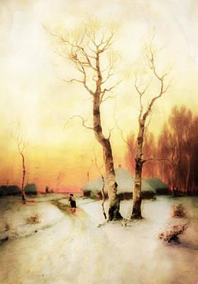 High Resolution Mixed Media - Golden Winter Of Forgotten Dreams by Georgiana Romanovna
