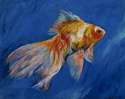 Tropical Fish Painting - Goldfish by Michael Creese