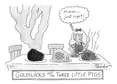 Goldilocks And The Three Little Pigs Print by Danny Shanahan