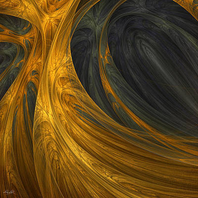 Gold Abstract Digital Art - Gold's Grace by Lourry Legarde