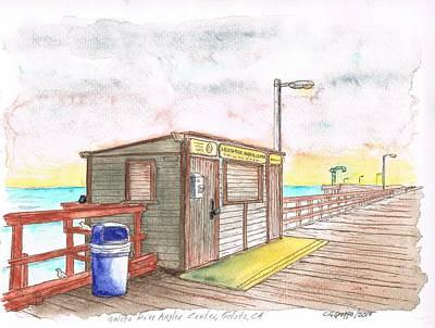 Goleta Pier Angler Center - Goleta Beach - California Print by Carlos G Groppa