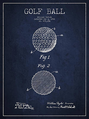 Golf Ball Patent Drawing From 1908 - Navy Blue Print by Aged Pixel