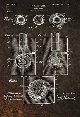 Golf Ball Patent On Leather Print by Dan Sproul