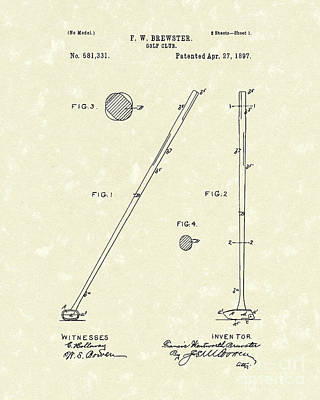 Golf Drawing - Golf Club 1897 Patent Art by Prior Art Design
