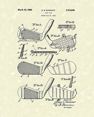 Sports Drawing - Golf Club 1936 Patent Art by Prior Art Design
