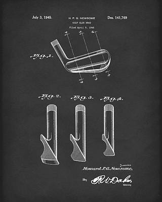 Golf Drawing - Golf Club 1945 Patent Art Black by Prior Art Design