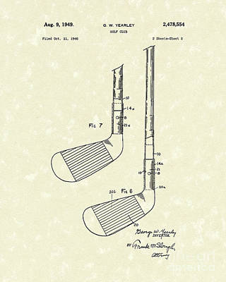 Golf Drawing - Golf Club 1949 Patent Art by Prior Art Design