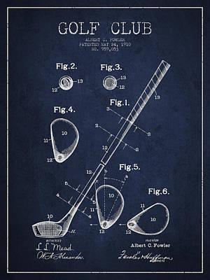 Golf Club Digital Art - Golf Club Patent Drawing From 1910 by Aged Pixel