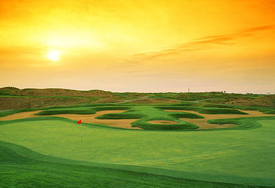 Evening Scenes Photograph - Golf Course At Dusk, Harborside by Panoramic Images