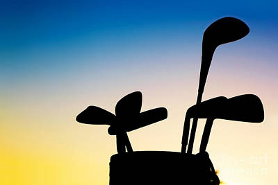 Activity Photograph - Golf Equipment Silhouette Clubs At Sunset by Michal Bednarek