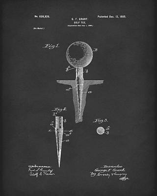 Golf Drawing - Golf Tee 1899 Grant Patent Art Black by Prior Art Design