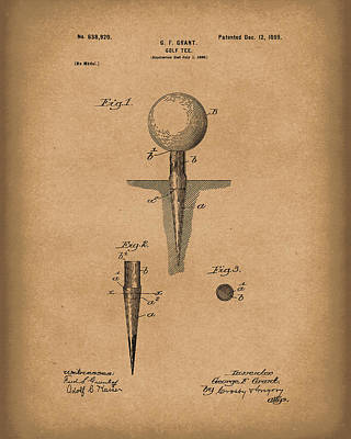 Golf Drawing - Golf Tee 1899 Grant Patent Art Brown by Prior Art Design