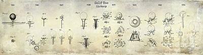 Golf Tee Patent History Drawing Print by Jon Neidert
