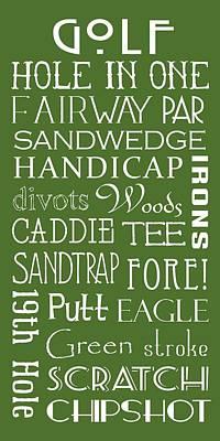 Sports Digital Art - Golf Terms by Jaime Friedman