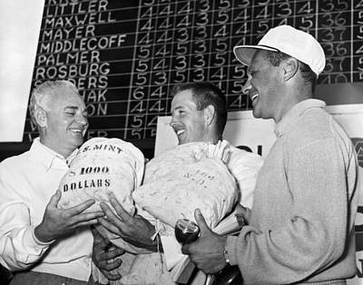 Of Money Photograph - Golfer Smiles With Winnings by Underwood Archives