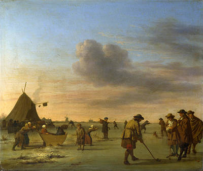 Adriaen Van De Velde Painting - Golfers On The Ice Near Haarlem by Adriaen van de Velde