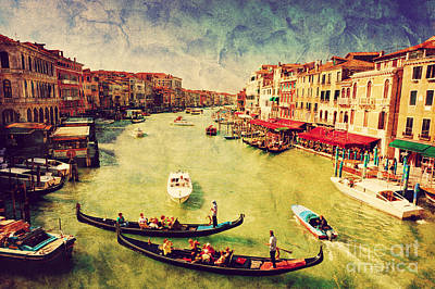 Tourism Photograph - Gondola On Grand Canal In Venice by Michal Bednarek