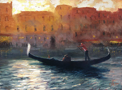 Tuscan Sunset Painting - Gondola Ride In Venice Italy by Christopher Clark
