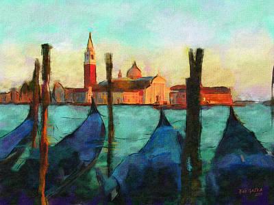 Gondolas Print by Bob Galka