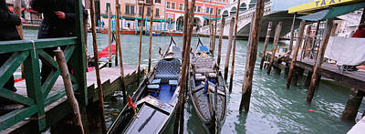 Gondolas Moored Near A Bridge, Rialto Print by Panoramic Images