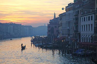 Venice Photograph - Gondolas On The Grand Canal Venice At Sunset by John Keates