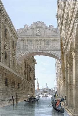 Gondolas Passing Under The Bridge Of Sighs Print by Giovanni Battista Cecchini