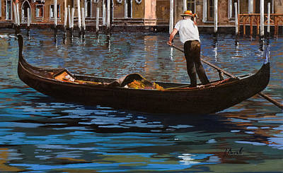 Grand Canal Painting - Gondoliere Sul Canale by Guido Borelli