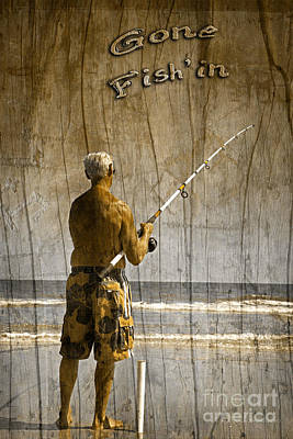 Gone Fishing Photograph - Gone Fish'in With Text Driftwood By John Stephens by John Stephens