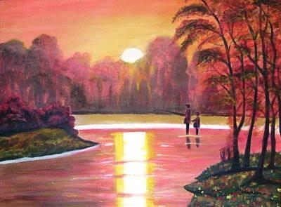 Sunset Painting - Gone Fishing by Manjiri Kanvinde