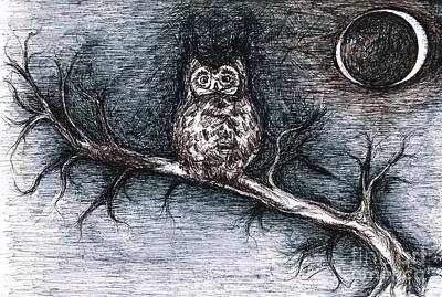 Strange Night Owl Print by Teresa White