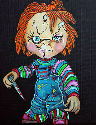 Creepy Painting - Good Guy Doll by Laura Barbosa