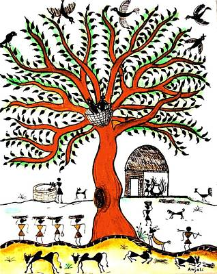 Warli Painting - Good Morning Chirp by Anjali Vaidya