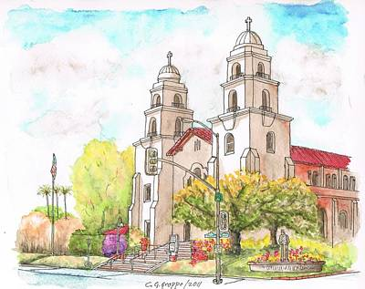 Beverly Hills Painting - Good Shepherd Catholic Church In Beverly Hills - California by Carlos G Groppa