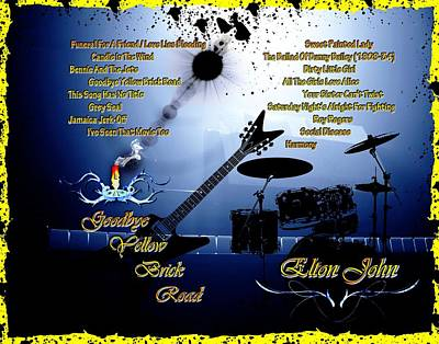 Elton John Mixed Media - Goodbye Yellow Brick Road by Michael Damiani