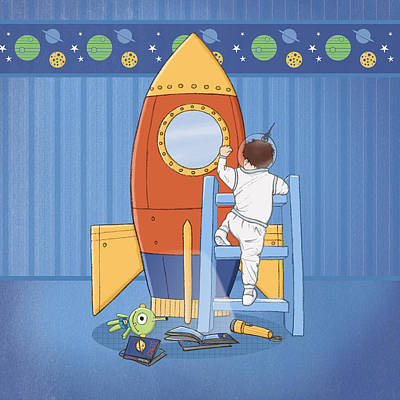 Goodnight I'm Going To My Space Rocket Print by Amanda Francey