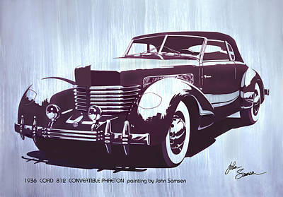 Museum Mixed Media - Gordon Buehrig's Dream Car  1936 Cord   Convertible Classic Automotive Art Sketch Rendering         by John Samsen
