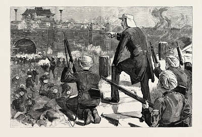 Storm Drawing - Gordon In China November 1863 Storming Soochow Gordon by Chinese School