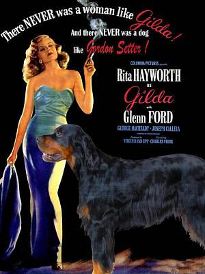 Gordon Setter Painting - Gordon Setter Art Canvas Print - Gilda Movie Poster by Sandra Sij