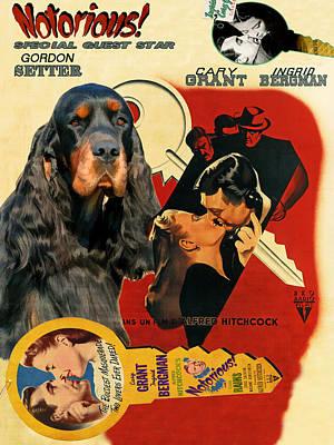 Gordon Setter Painting - Gordon Setter Art Canvas Print - Notorious Movie Poster by Sandra Sij
