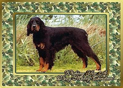 Gordon Setter Painting - Gordon Setter Dog Christmas by Olde Time  Mercantile