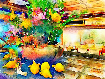 Fox Digital Art - Gorgeous Welcome Flower Arrangement With Fruit by Beverly Claire Kaiya