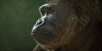 Mammals Digital Art - Gorilla by Aaron Blaise