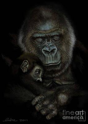 Gorilla Drawing - Gorilla  by Andre Koekemoer