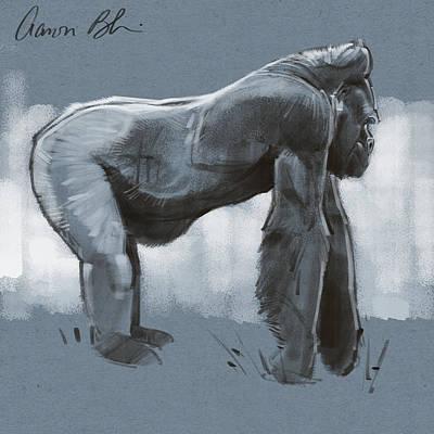 Digital Art - Gorilla Sketch by Aaron Blaise
